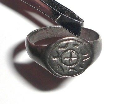 Ancient Byzantine Empire, Silver Ring. Cross
