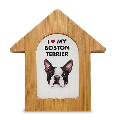 Boston Terrier Wooden Dog House Magnet 3.5 X 3 In. Self Standing