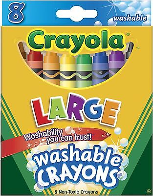 Crayola Washable Crayons Large 8 Colors/Box (52-3280) Assorted