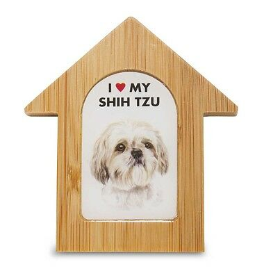Shih Tzu Wooden Dog House Magnet 3.5 X 3 In. Self Standing
