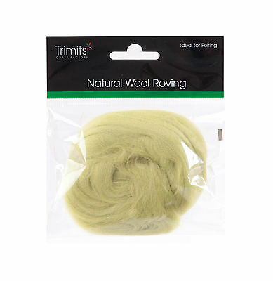 TRIMITS Natural 100% Wool Roving For Needle Felting 10g - PISTACHIO