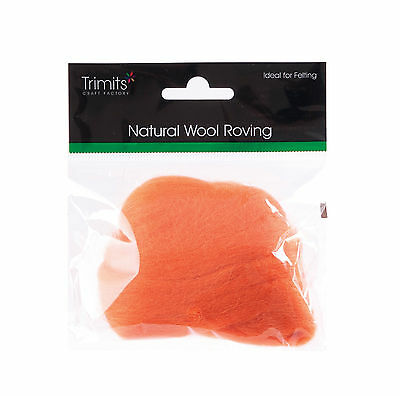 TRIMITS Natural 100% Wool Roving For Needle Felting 10g - ORANGE