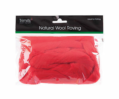 TRIMITS Natural 100% Wool Roving For Needle Felting 50g - RED