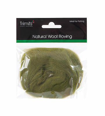 TRIMITS Natural 100% Wool Roving For Needle Felting 10g - LIME
