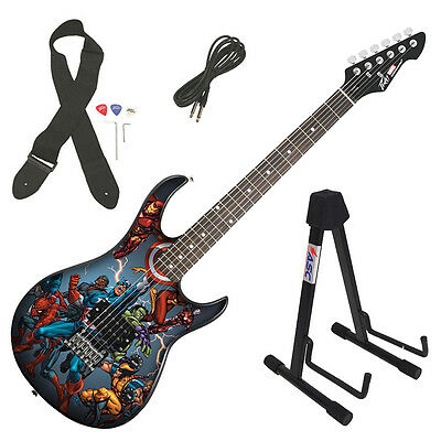 Peavey Rockmaster Marvel Avengers Vertical Full Size Electric Guitar & Stand
