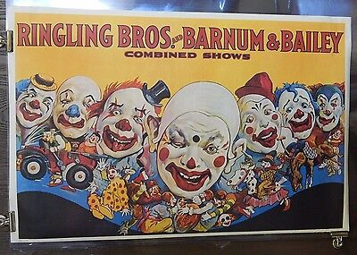 Ringling Brothers & Barnum & Bailey 1960's Reprint Poster SS 23x36 Clowns Rare