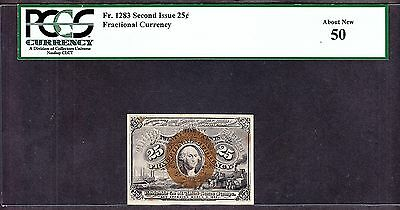 US 25c Fractional Currency 2nd Issue FR 1283 PCGS 50 Ch AU