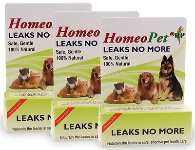 3 PACK HomeoPet Leaks No More 45 mL