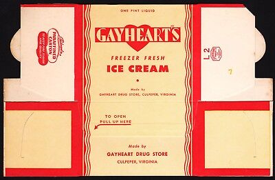 Vintage box GAYHEARTS DRUG STORE Ice Cream Culpeper Virginia unused n-mint cond
