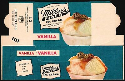 Vintage box MILLERS ICE CREAM dated 1955 Paducah Kentucky unused n-mint+ cond