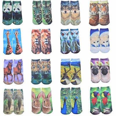 Fashion 3D Cute Printed Animal Men Women Casual Cotton Low Cut Ankle Socks Gift