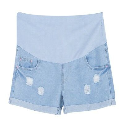 Fashionable Broadcloth Pregnant Women Belly Hold Up Denim Shorts ACA