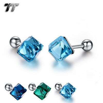 TT Surgical Steel Square Cystal Fake Ear Cartilage Tragus Earrings (TR14) NEW