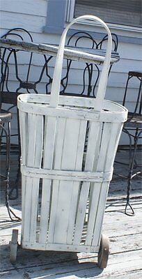 GROCERY Antique Vintage Bent Wood Oak Slat Shopping Cart Market Basket