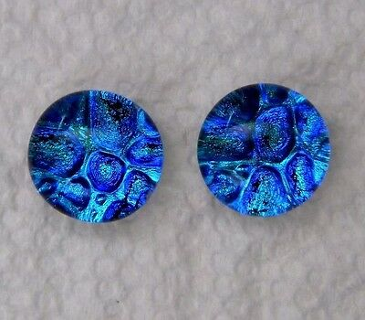 2 pcs DOME round gorgeous DICHROIC earrings bracelet FUSED GLASS (P14) CABOCHON