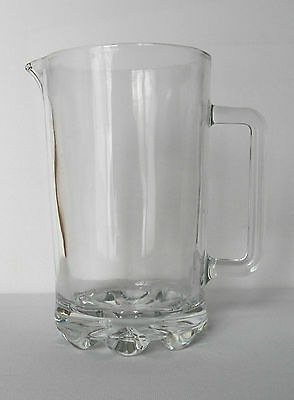 Excellent Clear Glass Pitcher Made In Italy With Heavy Waved Base With Number 14