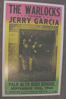 THE GRATEFUL DEAD 1964 WARLOCKS POSTER JERRY GARCIA art j. Palo Alto California