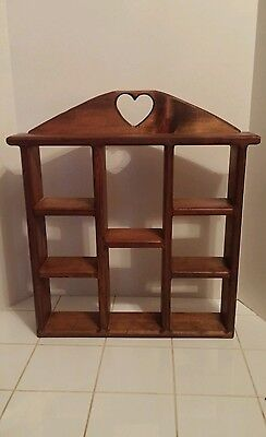 Large Vintage Wood Curio Sectional Wall Shelf Heart Cut Out