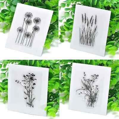 Flower Grass Transparent DIY Silicone Clear Rubber Stamp Sheet Cling Scrapbook