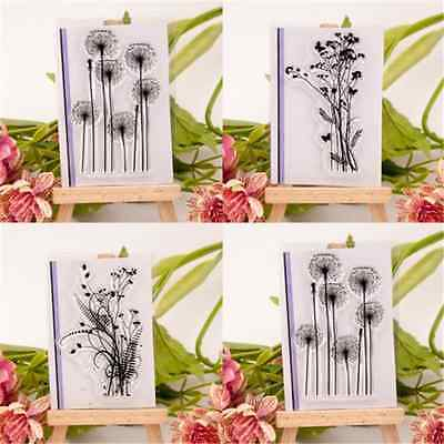 Fun Flower & Grass Transparent Silicone Clear Rubber Stamp Sheet Cling Scrapbook
