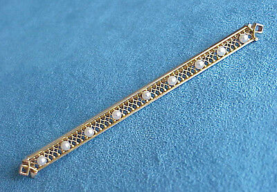 Fine Antique French Eagle Mark 14Kt Yellow Gold Filigree Pearl Bar Pin Brooch