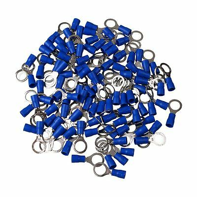 100pcs Wiring Cable Vinyl Crimp Metal Ring Terminals Connector 14-16 AWG Blue