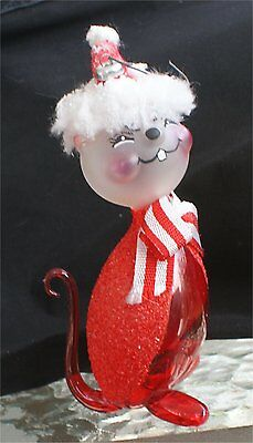 CHIPMUNK  hand painted Christmas ornament blown glass italian rare Italy 70s