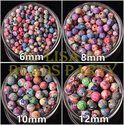 Wholesale 10~50pcs 6~12mm Ball Shape Clay Colorful Loose Spacer Beads Bulk