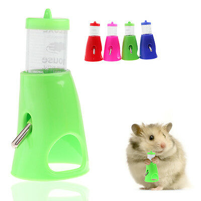 2 in 1 Hamster Water Bottle Holder 80ML Dispenser With Base Hut Small Pet Nest