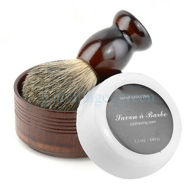 Pure Badger Hair Shaving Brush Natural Wood Mug Bowl W/ Barber Salon Cream Soap