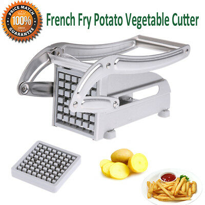 Stainless Steel French Fry Cutter Potato Vegetable Slicer Chipper Dicer 2 Blades