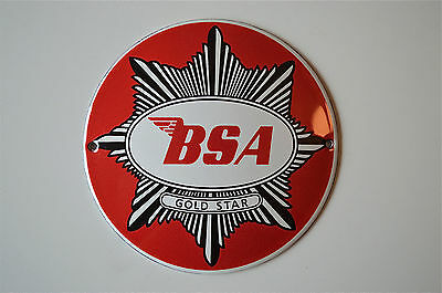Heavy quality porcelain advertising sign BSA GOLD STAR garage plaque round