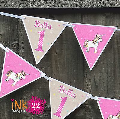 Personalised 1st, 2nd Birthday Girl Party Decoration Banner Bunting Pink Unicorn
