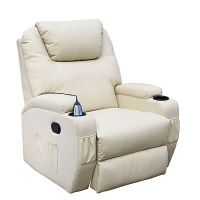 Cinemo Cream Leather Recliner Chair Rocking Massage Swivel Heated Gaming Nursing