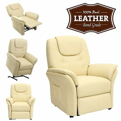 Windsor Cream Electric Rise Recliner Leather Armchair Sofa Lounge Chair