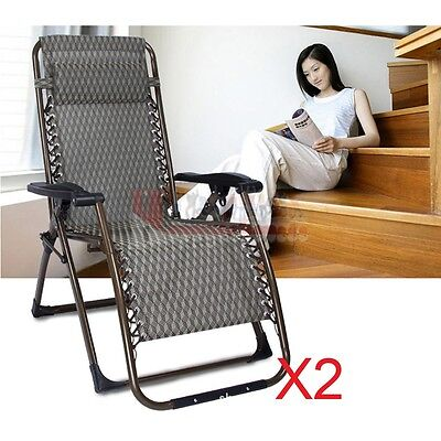 2X Folding Gravity Sun Beach Lounger Chair Recliner Garden Bed Headrest Camping