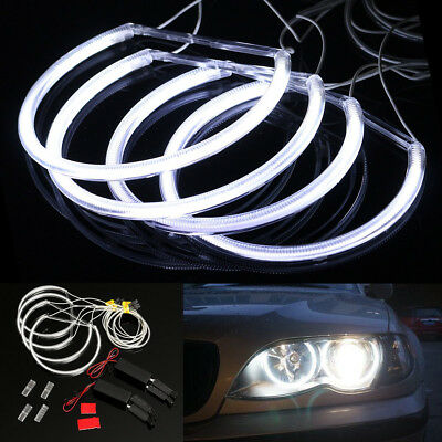 4x CCFL Angel Eye Halo LED Ring Light White Non-Projector For BMW E46 3 Series