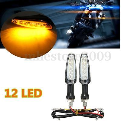 2x 12 LED 12V Universal Moto Jaune Turn Signal Light Lampe Clignotant Indicateur