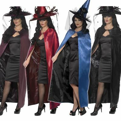 Deluxe Reversible Witch Cape Halloween Fancy Dress Wizard Cloak Costume