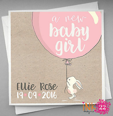 Personalised handmade Card For New Baby, Bunny Balloon, Boy Girl, Cute, Vintage