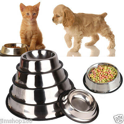 New Stainless Steel Non Slip Feeding Food Water Dish Bowls for Pets Dog/Cat Lot