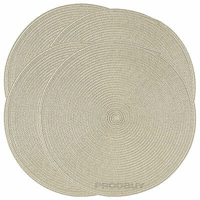 Set of 4 Woven Beige Round Fabric Placemats Dining Table Place Settings Mats