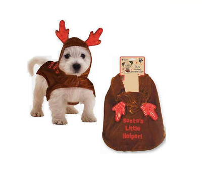 `Novelty Christmas Reindeer Dog Hoody Cape Coat Santa Little Helper Outfit PERC
