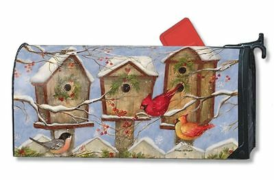 Magnet Works Christmas Snowy Birdhouse Winter Birds Magnetic Mailbox Wrap Cover
