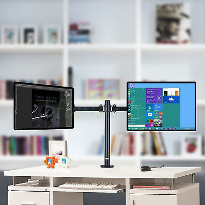 """Double Twin Arm Desk Mount Bracket LCD Computer Monitor Stand 10""""-30"""" Screen TV"""