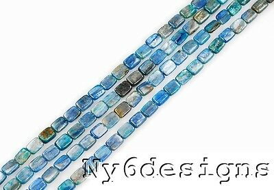 """* 7x6mm Real Royal Blue Kyanite Rectangle Bead15""""(KY21)a"""