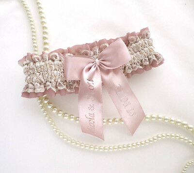 Boxed CHAMPAGNE/NUDE DUSKY PINK SATIN BRIDAL PERSONALIZED GARTER VINTAGE STYLE