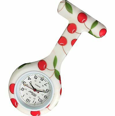 New First Hand Healthcare Therapist Nurse Red Cherry Print Round Silicone Watch