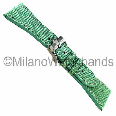26mm Glam Rock High Quality Hand Made Green Genuine Lizard Curved End Watch Band