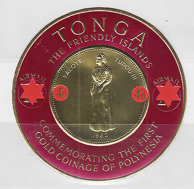 Tonga Sc C13 MNH. 1965 4sh6p Air Mail surcharge on 2sh1p Gold Coinage, F-VF